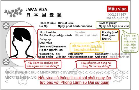 mẫu visa nhật bản