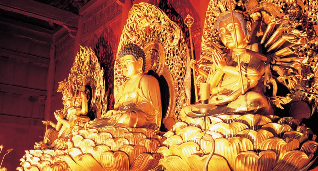 Ba bức tượng vàng tại chùa Rinno