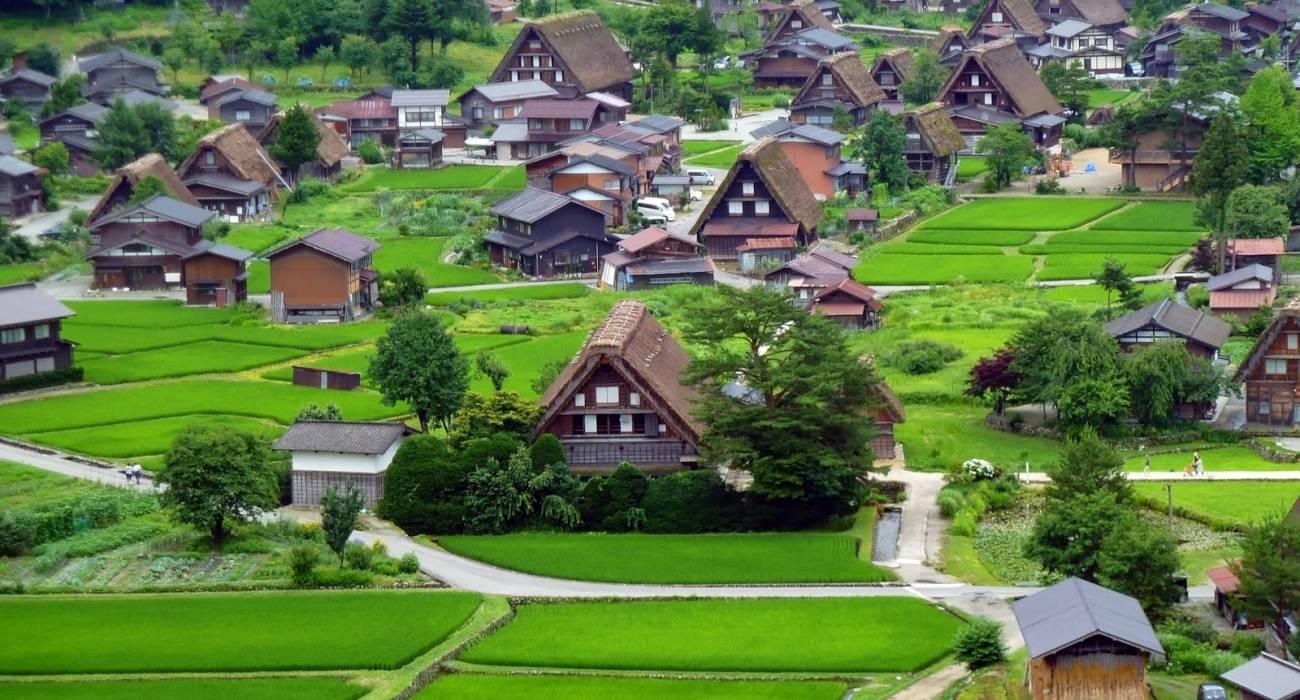 Làng lịch sử Shirakawa-Go và Gokayama phủ bởi màu xanh tuyệt đẹp